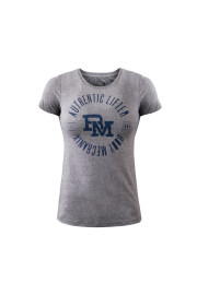 Authentic Lifter Plate Print ladies t-shirt With Navy- Small
